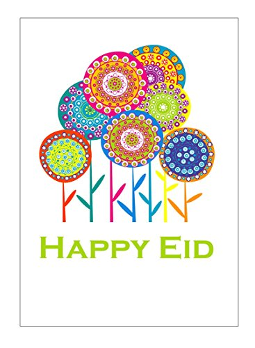 001 Greeting Card - Zaffron Shop Happy Eid Flower Party Greeting Cards (10 pack)