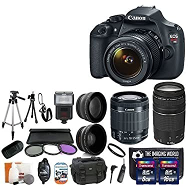 Canon EOS Rebel T5 18.0 MP CMOS Digital Camera SLR Kit With Canon EF-S 18-55mm IS II + Canon 75-300mm III Lens + Wide-Angle Lens + Telephoto Lens + 8GB and 16GB Card + Card Reader + Case + Flash + Tripod + Remote + 58mm Filter Kit - 24GB Deluxe Accessories Bundle