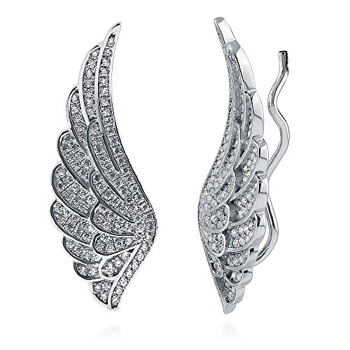 BERRICLE Rhodium Plated Sterling Silver Cubic Zirconia CZ Angel Wings Fashion Ear (Heavenly Angel Pins)