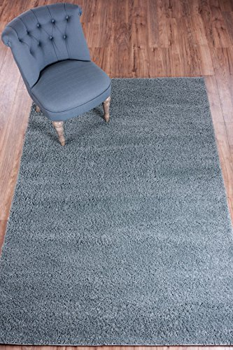 Well Woven Madison Shag Plain Light Blue Modern Solid Area Rug 3'3'' X 5'3''