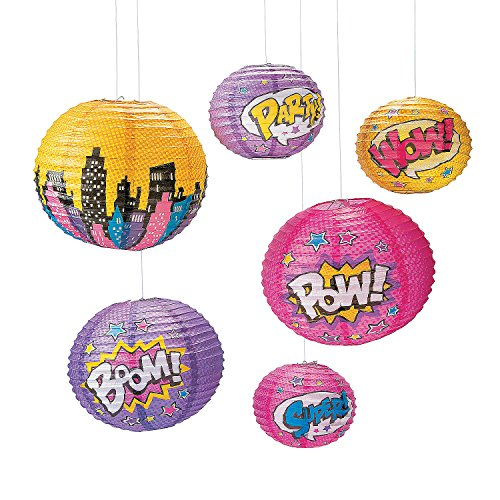 Fun Express - Superhero Girl Paper Lanterns (6pc) for Birthday - Party Decor - Hanging Decor - Lanterns - Birthday - 6 Pieces