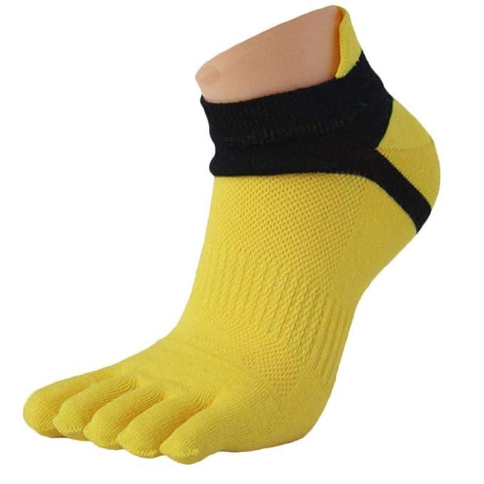Logobeing 1 Par Calcetines de Deporte Para Hombre Malla Medias Sports Running Cinco Dedos Calcetín Del Dedo Del Pie (amarillo): Amazon.es: Ropa y accesorios