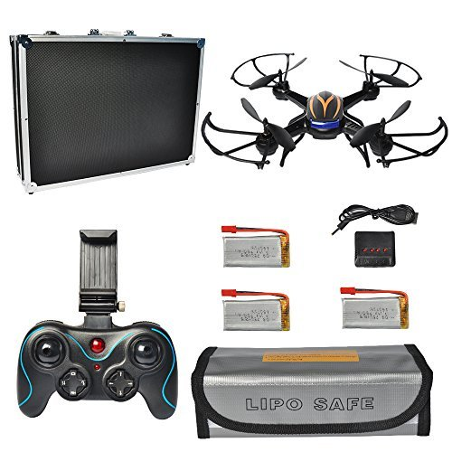 PYS F181 RC Quadcopter with 720p HD Camera Wifi FPV Drone with Altitude Hold Function, RTF Helicopter with Portable Aluminum Case, 4 Batteries, 4in1 Charger, Explosion-proof Battery Safe Bag (Black)