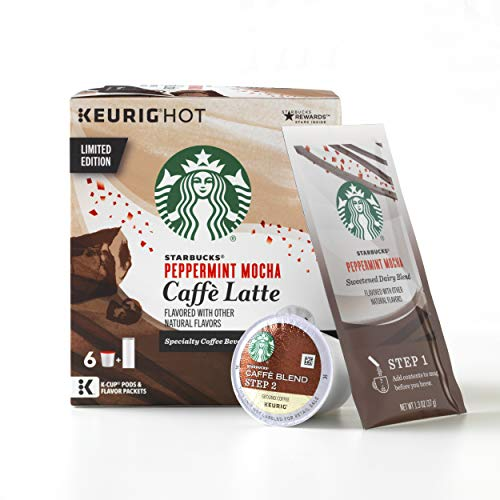 - Starbucks Peppermint Mocha Caffe Latte Medium Roast Single-Cup Coffee for Keurig Brewers, 4 Boxes of 6 (24 total K-Cup pods)