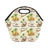 InterestPrint Tropical Alone Hawaii Reusable Insulated Neoprene Lunch Tote Bag Cooler 11.93'' x 11.22'' x 6.69'', Summer Palm Tree Portable Lunchbox Handbag for Men Women Adult Kids