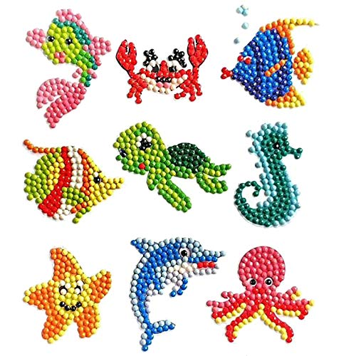 Benbo Diamond Painting Kits 5D DIY Diamond Dotz Kits Paint by Numbers Handmade Sticker Arts and Crafts for Children (Fish Serial) ()