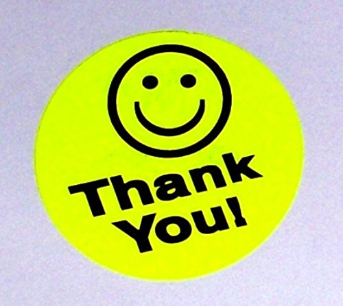 Thank You Mailing Sticker Label Smile Smiley Face 2500 Pcs. 5 rolls of 500 Yellow 1.50
