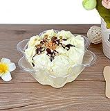 Hewnda Ice Cream Bowls Clear Plastic Dessert bowl Flower Ice Cream Bowls Dessert Cups(100)