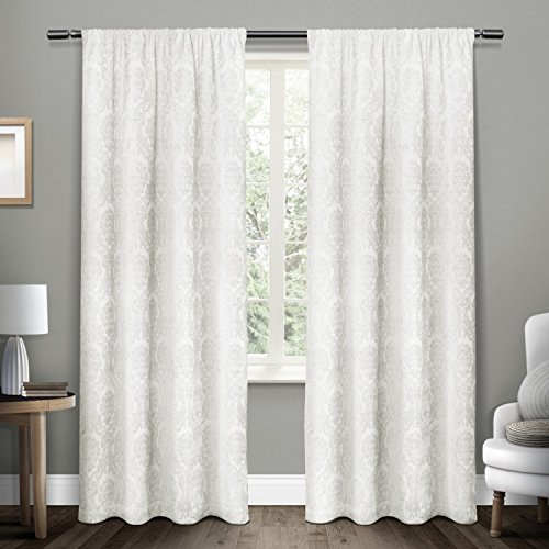 Exclusive Home Damask Medallion Heavyweight Chenille Jacquard Room Darkening Rod Pocket Window Curtain Panel Pair, Winter White, 52