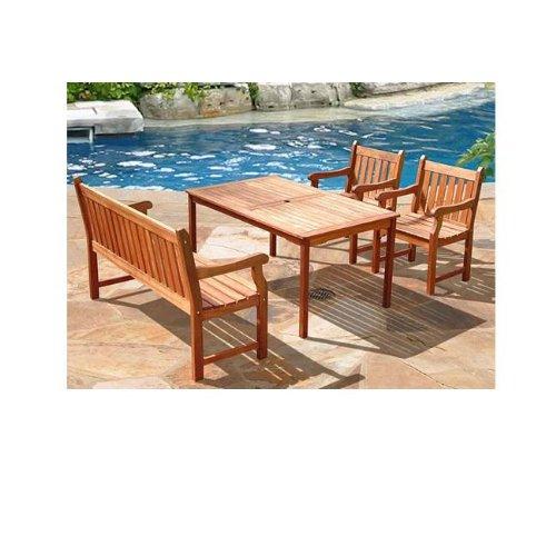 4 Piece Balthazar Wood Outdoor Dining Set - Balthazar Dining Set