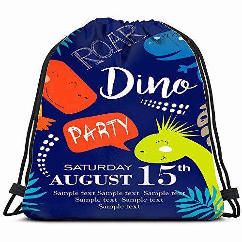 Invitation Card Dinosaur Party Animals Wildlife Drawstring Backpack Bag Sackpack Gym Sack Sport Beach Daypack For Girls Men & Women Teen Dance Bag Cycling Hiking Team Training