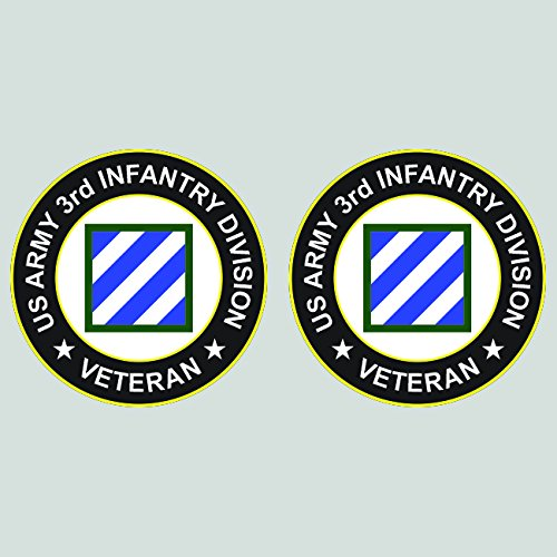 Two Pack US Army 3rd Infantry Division Veteran Patch Sticker Diecut Decal FA Vinyl