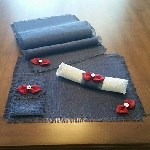 Burlap Patriotic Red, White & Blue Shabby Chic Table Runners, Placemats, Silverware Holders, Napkin Rings and Decorative Napkins with Handmade Bow-tie Accent (Quantities of 4 or 6)]()