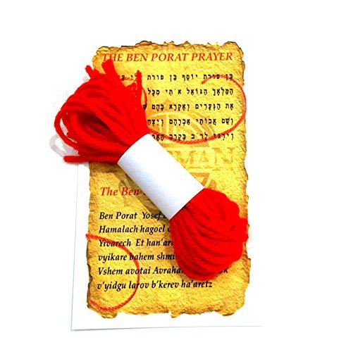 12 PCS LOT WOOL KABBALAH RED STRING BRACELET AGAINST EVIL EYE FROM RACHELS TOMB ISRAEL + BEN PORAT PRAYER CARD