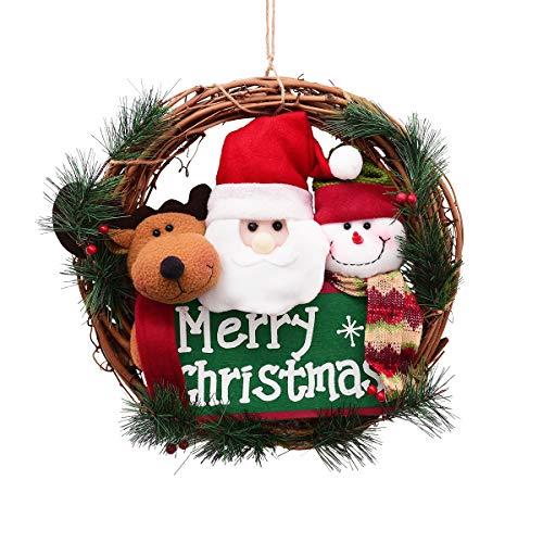Sunm boutique Merry Christmas Wreath Small Grapevine Wreath with Santa Snowman Reindeer Front Door Wreaths for Door Home -