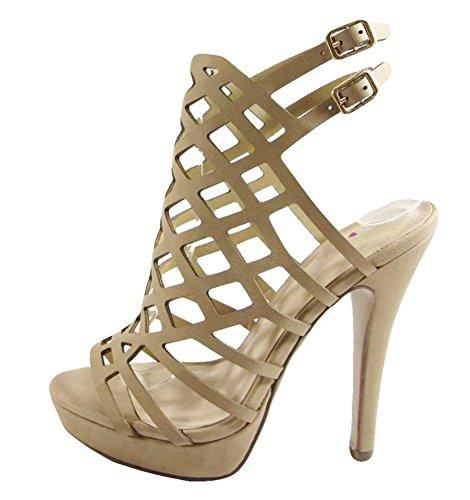 Delizioso Sandalo Con Tacco Da Donna Con Zeppa Platform Naturale