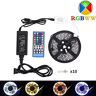 LED Strip Lights, RGBW Led Strip Waterproof 12v 16.4ft (5M) 300LEDs SMD 5050 Warm White Plus RGB Light with 40Keys Remote Controller and 5A Power Supply