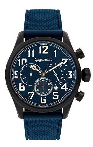 Gigandet Men's Quartz Watch Interceptor Chronograph Analog Silicone Strap Blue Black G4-008