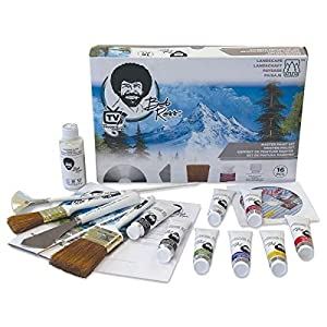 Bob Ross Painting Supplies 19 Piece Master Paint Set – The Joy of Painting Landscape Oil Kit for Beginners with Canvas and Palette + Complimentary Gridiron Paint Brush Comb