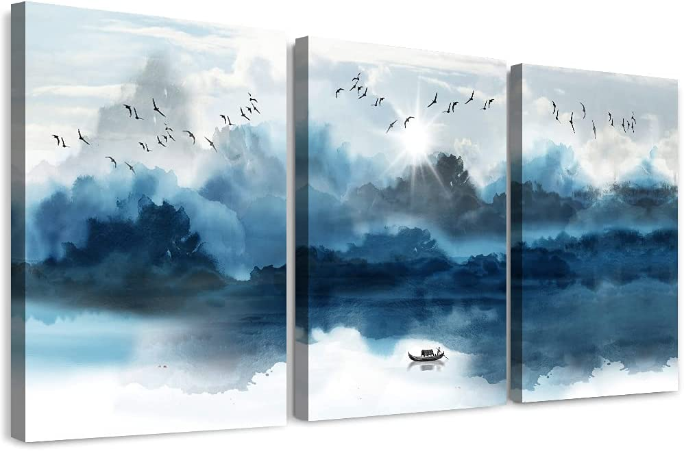 Canvas Wall Art Decor for Living Room Family Wall Decorations for Bedroom Modern Bathroom Wall Decor Ink Painting Mountain Pictures Artwork Inspirational Canvas Art Prints Kitchen Home Decor 3 Piece