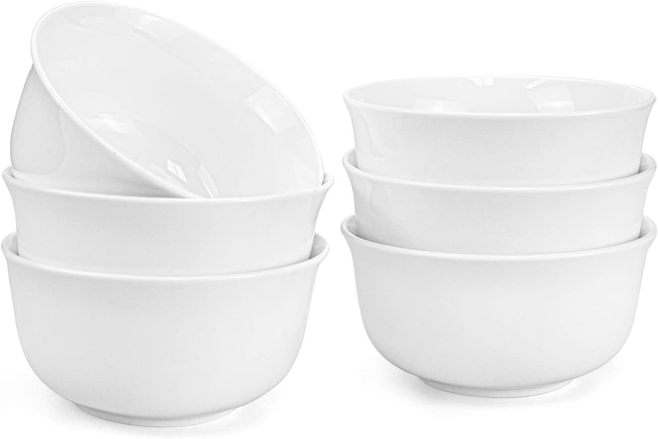 Foraineam 15 Ounce Porcelain Cereal Bowls 5 Inches White Soup Bowl Set for Dinner, Dessert, Salad, Fruit, Small Side Dishes, Set of 6