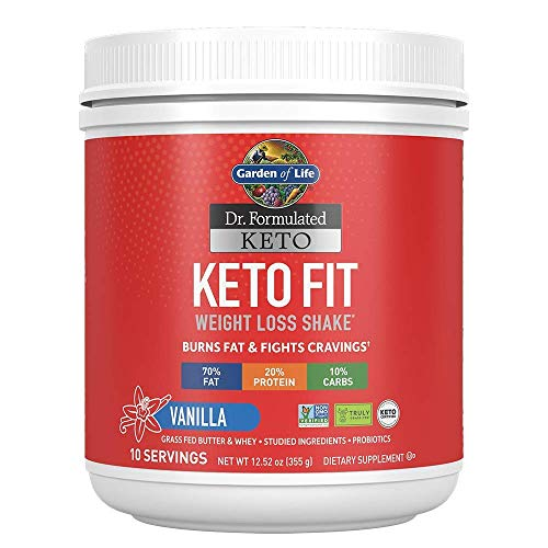 Garden of Life Dr. Formulated Keto Fit Weight Management Shake - Vanilla Powder,25 Servings,Truly Grass Fed Butter & Whey Protein,Studied Ingredients & Probiotics,Non-GMO,Gluten Free,Ketogenic,Paleo