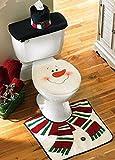 D-FantiX 3-Piece Snowman Santa Toilet Seat Cover and Rug Set