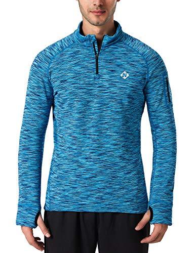 1/4 Zip Thermal (NAVISKIN Men's 1/4 Zip Pullover Thermal Thumbholes Running Long Sleeve Shirts Workout Outdoor Tops Blue Size L)