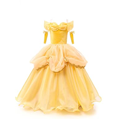 Amazon Com Bkskk New Yellow Tutu Dresses Belle Princess Girls