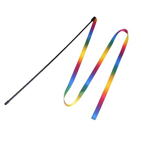 Everpert Rainbow - Cinta de Lana para Gatos, caña de Pescar para Mascotas, Juguetes