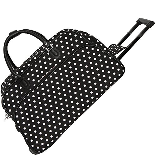 World Traveler 21-Inch Carry-On Rolling Duffel Bag, Black White Dot ()