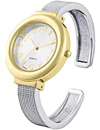 Two tone mesh like ladies bangle/cuff watch with sunray dial and singapore movement