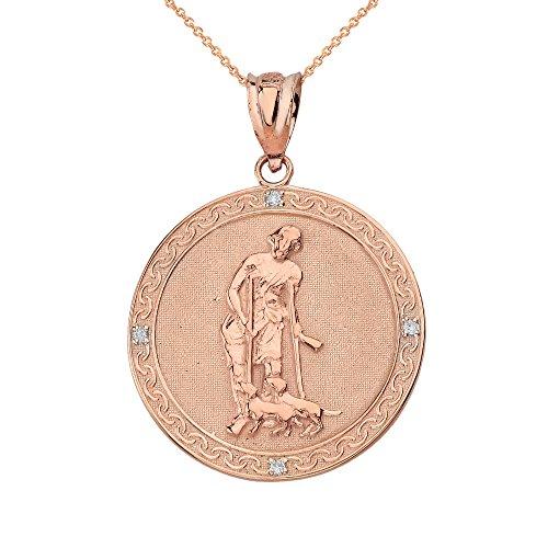 (14k Rose Gold Saint Lazarus Pray For Us Medallion Diamond Pendant Necklace (1