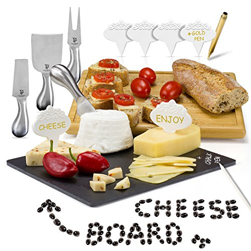 Cheese Board Set by Great Beyond Creations: Complete Kit of Slate and Bamboo Board, 4 Knives, 6 Ceramic Markers, Gold Pen, and Chalk in a Gift Box (Cheese Board And Knife Gift Set)