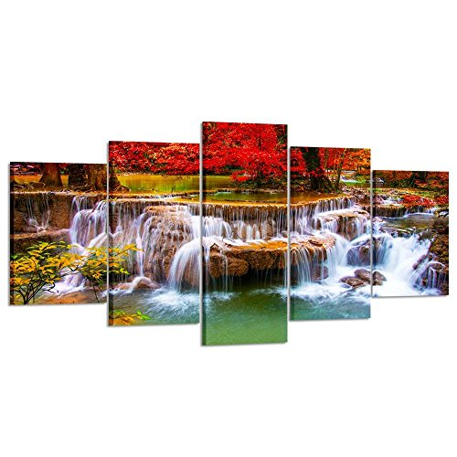 Kreative Arts XLarge Canvas Print for Living Room Decoration Stretched 5 Panels Green Dreamlike Waterfall Painting Wall Art Picture Print on Canvas- High Definition Modern Home Decor ()