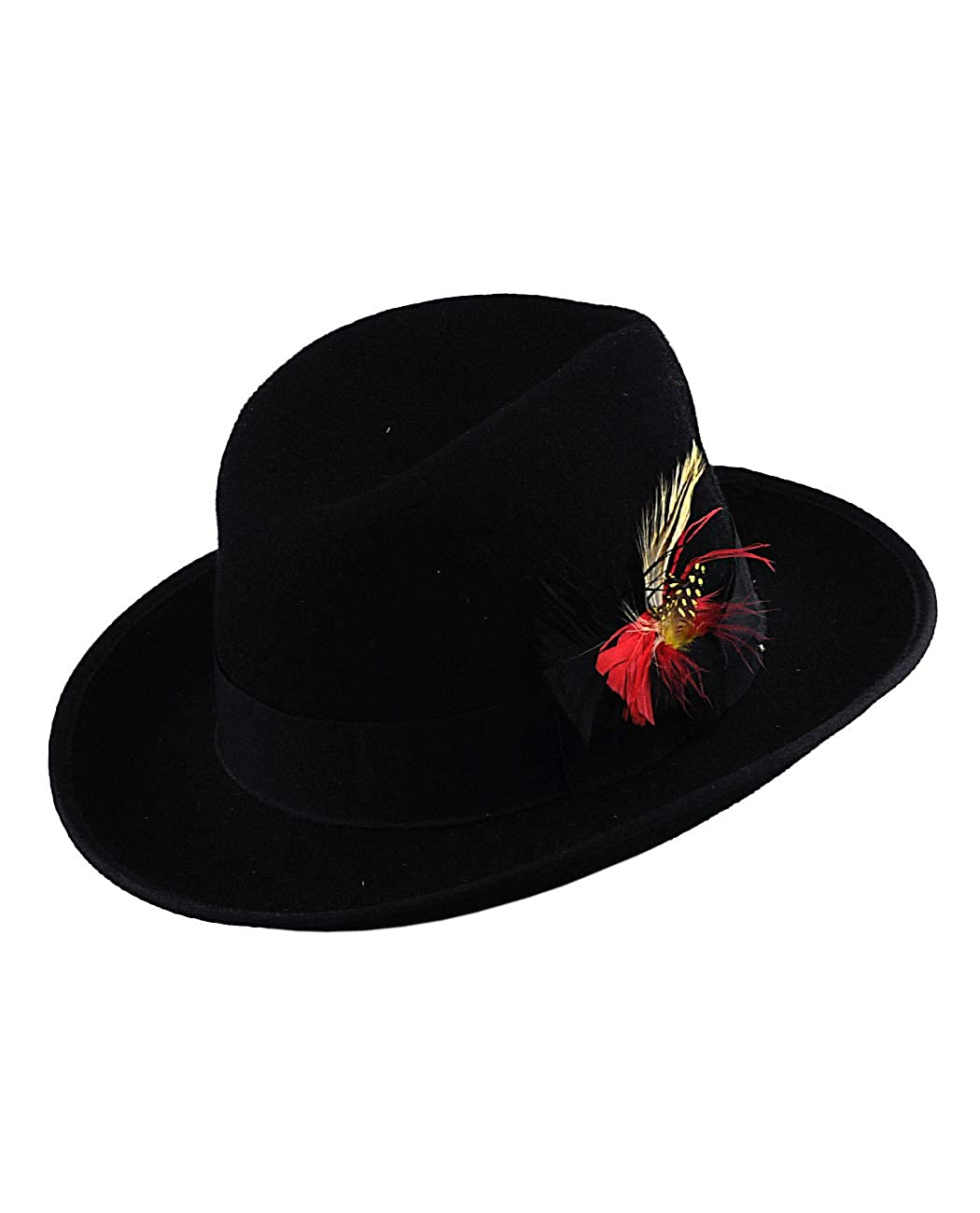 NYFASHION101 Men's Classic Wool Solid Wide Brim Black Fedora Hat with Feather Band Medium Wide Feather Fedora-M
