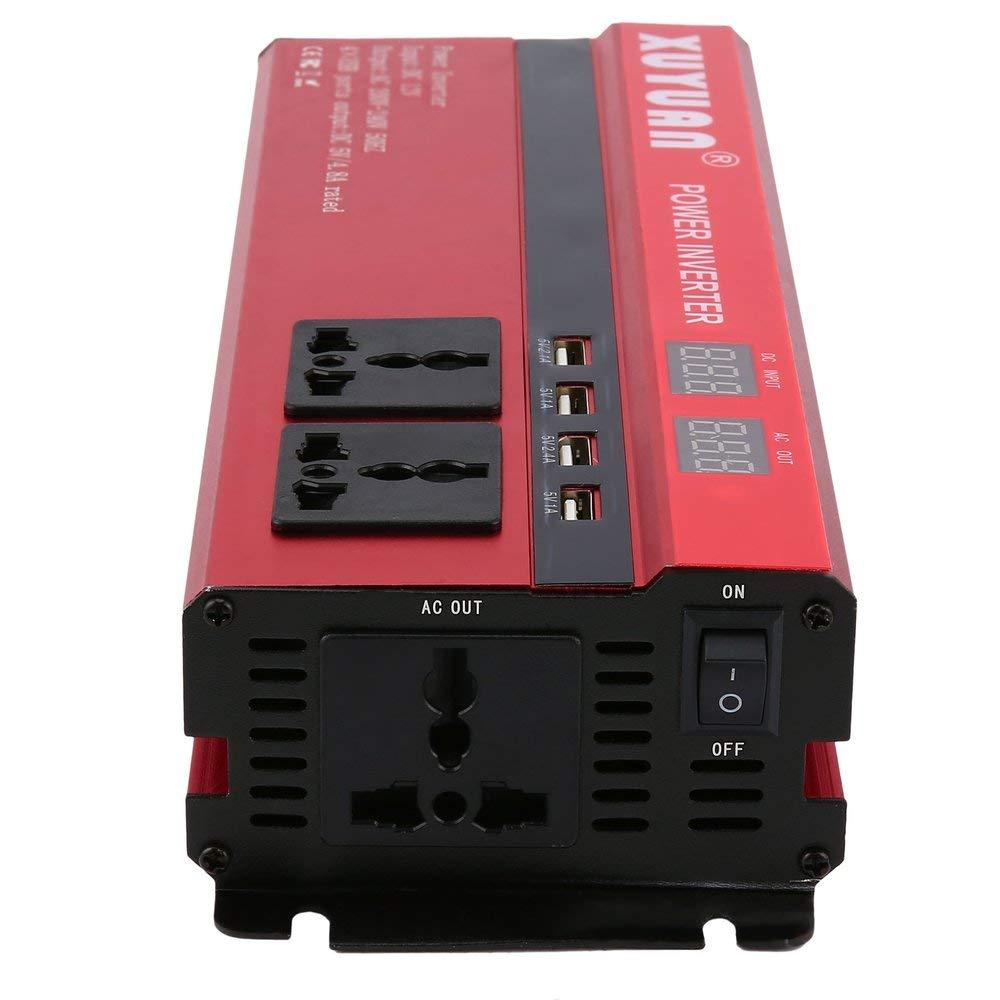 Professional 6000W Solar Power Inverter DC 24V to AC 220V LED Display Car Sine Wave Converter for Household Appliances Red