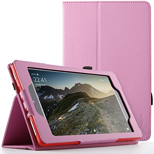 Poetic SlimFolio case for All-New Amazon Fire HD 8 Tablet (7th and 8th Generation, 2017 and 2018 Release) - Slim Leather Stand Folio Smart Cover Case with Auto Wake/Sleep - Pink