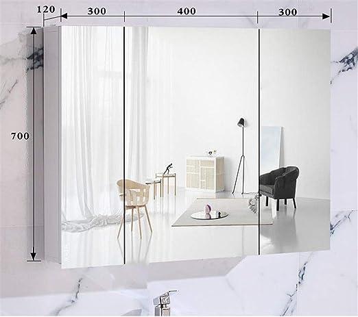 Zavddy Armarios con Espejo Medicina de Aluminio del gabinete con Espejo Gabinete de Almacenamiento de baño for Montaje en Superficie o empotrada para Baño (Color : White, Size : 100x70x12cm): Amazon.es: Hogar
