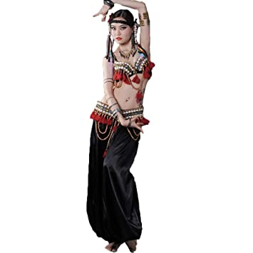 MoLiYanZi Conjunto de Trajes Tribales de Danza del Vientre para Mujer Sujetador y Cinturón con Flecos Pantalones 3 Piezas: Amazon.es: Deportes y aire libre