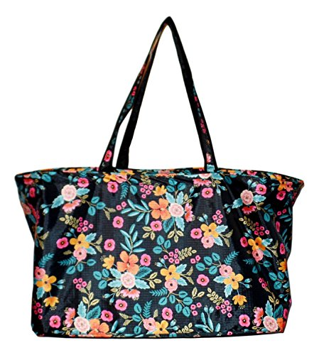 Fashion Print Ultimate Tailgater X-Large Tote - Carry All Organizer Bag (Black Floral) (Tote Ultimate)