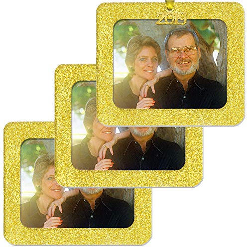 2019 Magnetic Glitter Christmas Photo Frame Ornament with Non Glare Photo Protector, Horizontal - Bright Yellow Gold, 3-Pack Bright Yellow Picture Frame