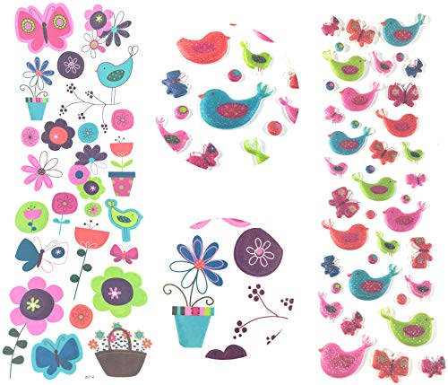 - Paper Passion - Fun Self Adhesive Dimensional Partridge Style Colorful Bird Stickers & Flower Stickers for Crafting, Scrapbooking and Planner Stickers | Package of 64 Decorative Stickers