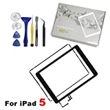 COCOCKA Panel Front Touch Screen Glass Digitizer Replacement Assembly For iPad Air (5th Generation) + Home buttom + Camera Holder + PreInstalled Adhesive With Premium Repair Toolkit (Black)