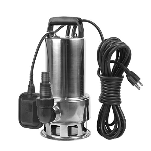 - EXTRAUP 1.5HP 4250 GPH Stainless Steel Sump Submersible Clean Dirty Heavy Duty Drain Water Transfer Pump Pool Pond Flood Pump