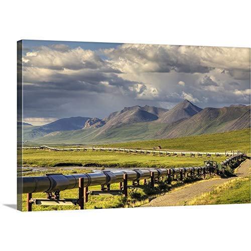 """GREATBIGCANVAS Gallery-Wrapped Canvas Entitled Semi Truck Driving The Haul Road Along The Trans Alaska Oil Pipeline, Arctic Alaska by Lucas Payne 18""""x12"""""""