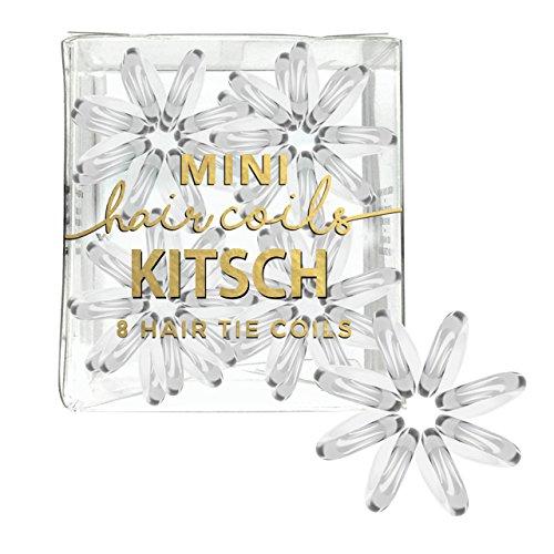 Kitsch Mini Spiral Hair ties, Coil Hair Ties, Phone Cord Hair Ties, Hair Coils - 8pcs, (Transparent)