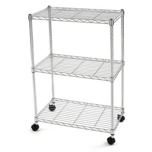 Nsf Chrome Post (Finnhomy 3 Tier Heavy Duty Wire Rack Shelving with Wheels,Metal Adjustable Rolling Shelving Unit,Thicken Steel Tube Chrome)