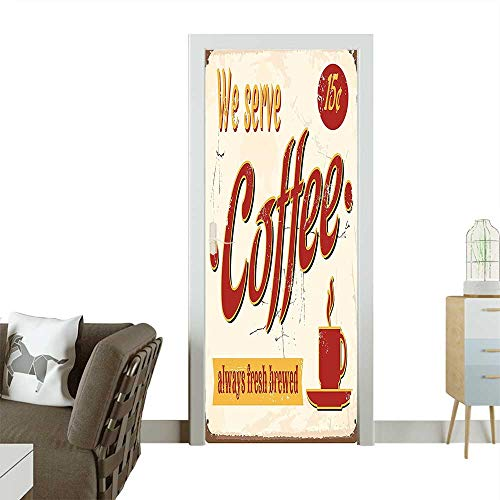 Homesonne Door Sticker WallpaperRetro Style Tin Rusty Faded Fresh Brewed Coffee Print from Old Days Fifties Fashion and Various patternW23 x H70 -