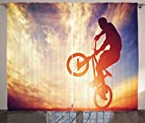 Ambesonne Modern Curtains, Dynamic Man on the Bike Performing Silhouette under Hazy Sun Lights Hobby Image, Living Room Bedroom Window Drapes 2 Panel Set, 108 W X 84 L Inches, Multicolor